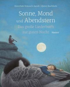 Titelseite des Buchs. Zeichnung in blau gehalten. Ein junge schläft unter Vollmond auf naktem Fels.